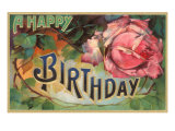 A Happy Birthday, Vintage Rose Pósters