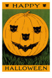 Jack O'Lantern with Cats and Bat Posters
