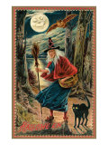 Witch and Black Cat in Forest Posters