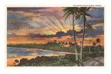 Sunset, Kalapana Black Sands, Hawaii Poster