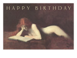 Happy Birthday, Nude Reading Print