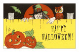 Happy Halloween, Jack O'Lanterns and Witch Poster