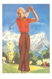 Lady Golfing in the Mountains Photo