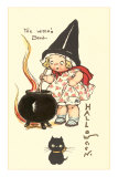 Child Witch with Cauldron Poster