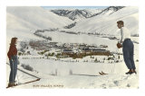 Sun Valley, Idaho, Skiers Looking Over Town Posters
