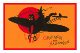 Greetings for Halloween, Cat and Witch in Plane Prints