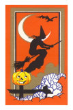 Witch Silhouette with Bat and Jack O'Lantern Posters