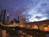Downtown View and Detroit Avenue Bridge, Cleveland, Ohio, USA Photographic Print by Walter Bibikow