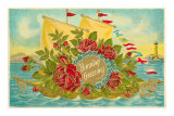 Birthday Greetings, Ship with Roses Posters