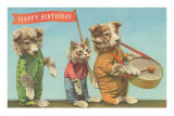 Dressed Dogs and Cat with Greetings Posters