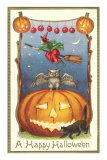 Witch, Owl Perched on Jack O'Lantern Print