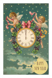 Happy New Year, Victorian Angels with Clock Posters