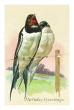 Birthday Greetings, Swallows on Wire Prints