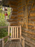 Front Porch of Log House, Athabascan Indian Village, Fairbanks, Alaska, USA Photographic Print by Ellen Clark