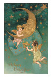 Happy New Year, Cherubs at Moon Posters