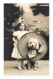 Little Girl Clown with Drum and Dog Prints