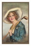 Lady in Hat with Golf Club Poster