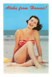Aloha from Hawaii, Woman on Beach Posters