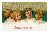 Birthday Greetings, Victorian Children Photo