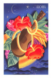 Graphic of Ukulele and Tropical Flowers, Aloha Poster