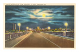 Moon over Bridge, Savannah, Georgia Posters
