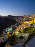 White Buildings at Night, Fira, Santorini, Greece Photographic Print by Bill Bachmann