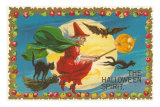 The Halloween Spirit, Witch on Broom Posters