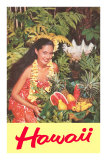 Hawaii, Hawaiian Woman with Fruit Photo
