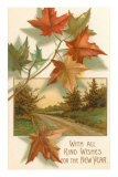 Maple Leaves and Forest Trail Print