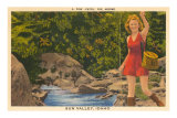 Fishing in Sun Valley, Idaho, Girl in Sun Dress Posters