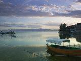 Lake Ohrid Harbor and Water Taxi, Macedonia Photographic Print by Walter Bibikow