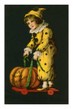 Halloween, Little Clown and Pumpkin Photo
