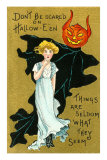 Halloween, Girl and Jack O'Lantern Goblin Poster