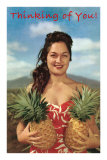 Thinking of You, Hawaiian Woman with Two Pineapples Posters