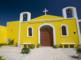 Small Yellow Chapel, Puerto Telchac, Yucatan, Mexico Photographic Print by Julie Eggers