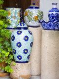 Mexican Ceramic Pots on Display, San Miguel De Allende, Guanajuato, Mexico Photographic Print by Julie Eggers