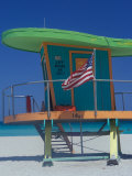 Art Deco Lifeguard Hut, South Beach, Miami, Florida, USA Photographic Print by Julie Bendlin