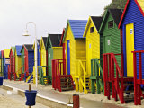 Colorful Changing Houses, False Bay Beach, St James, South Africa Photographic Print by Charles Crust