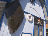 Fish Sculpture and Life Preserver, Homer, Alaska, USA Photographic Print by Ellen Clark