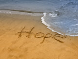 The Word Hope Carved, Popham Beach, Phippsburg, Maine, USA Photographic Print by Kathleen Clemons
