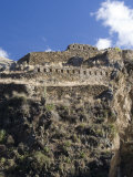 Inca Fortress on Hill, Ollantaytambo, Sacred Valley of the Incas, Peru Photographic Print by Diane Johnson