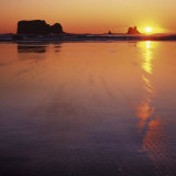 Seastacks at sunset, Olympic National Park, Washington, USA Photographic Print by Charles Gurche