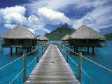 Bora Bora Nui Resort bungalows, Moto Toopua, French Polynesia Photographic Print by Walter Bibikow