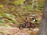 Mountain Biking on the Thompson Loop, Tsali Recreation Area, North Carolina, USA Stampa fotografica di Chuck Haney