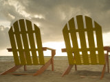 Lounge Chair Facing Caribbean Sea, Placencia, Stann Creek District, Belize Photographic Print by John & Lisa Merrill