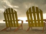 Lounge Chair Facing Caribbean Sea, Placencia, Stann Creek District, Belize Photographic Print by John & Lisa Merrill
