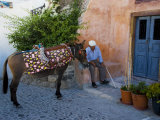 Resting Elderly Gentleman, Oia, Santorini, Greece Photographic Print by Darrell Gulin
