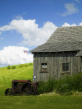 Old Barn and Tractor, Palouse County, Idaho, USA Photographic Print by Terry Eggers