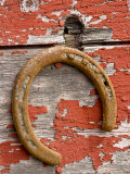 Rusty Horseshoe Hanging, Ponderosa Ranch, Seneca, Oregon, USA Photographic Print by Wendy Kaveney