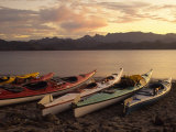 Kayaks On The Beach, Sea of Cortez, Baja, California Photographic Print by Ellen Clark